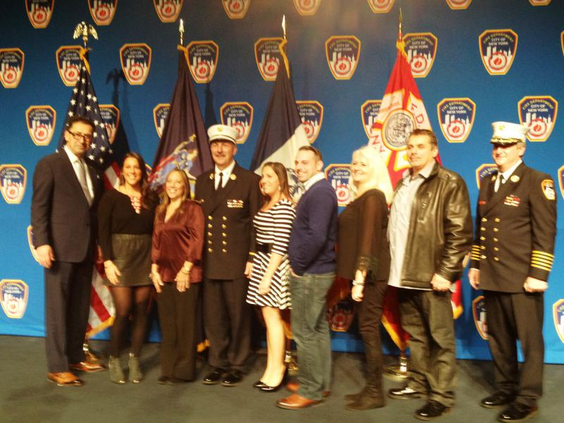 November 13, 2014  Deputy Chief Thomas Richardson D 11 with Commissioner Nigro, Chief of Department Leonard, and the Richardson Family.